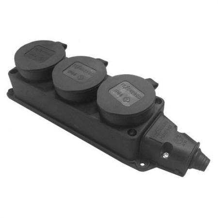 Розетка каучук перенос 3-х мест с З/К с защит IP44